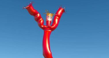 Loco rojo agitando el brazo inflable agitando el hombre del tubo en el cielo azul claro video