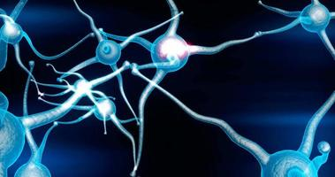 Real Neuron synapse network with red electric impulse activity able to loop seamless video