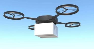 drone che consegna pacchi postali su un cielo azzurro chiaro video