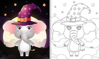 coloring book with a cute cartoon halloween witch elephant vector