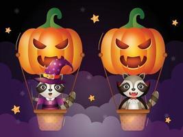 Cute raccoon on pumpkin air balloon vector