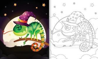 libro para colorear con un lindo camaleón bruja de halloween de dibujos vector