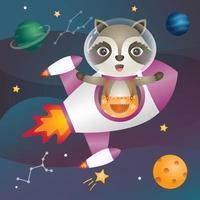 a Cute raccoon in the space galaxy vector