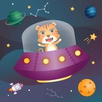 ute tiger in the space galaxy vector