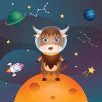 Cute yak in the space galaxy vector