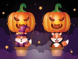 Cute fox on pumpkin air balloon vector