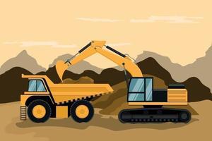 Mining truck and caterpillar backhoe doing construction vector