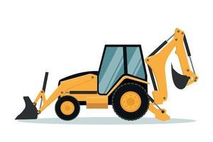 Design of backhoe. Heavy machinery vector