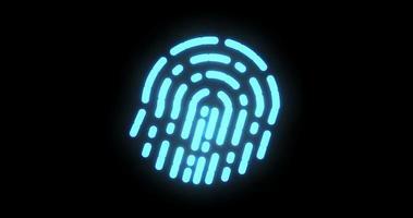biometria delle impronte digitali. elaborazione digitale futuristica di scanner biometrico di impronte digitali e applicazioni cyber futuristiche. luce lampeggiante video