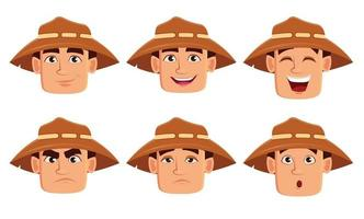 Face expressions of farmer in hat vector