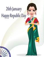 Indian Republic day greeting card with beautiful woman vector