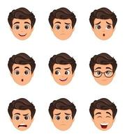 Male emotions set. Facial expression. Cartoon character vector