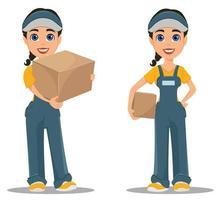 mujer de mensajería con caja de cartón. colocar. Entrega rápida profesional. vector