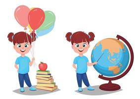 Back to school. Cute girl in casual clothes with helium balloons vector