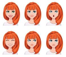 Face expressions of a redhead woman. Different female emotions, set. vector
