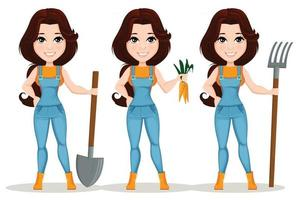 Cute farmer girl cartoon character vector