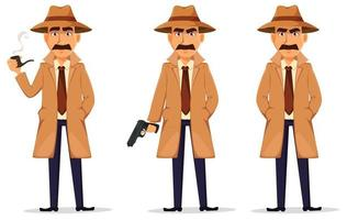 Detective in hat and coat. Handsome character vector