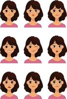 Face expressions of a cute woman vector