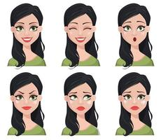 Face expression of beautiful brunette woman vector