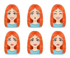 Face expressions of beautiful redhead woman vector