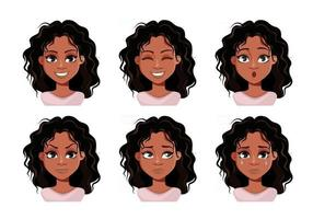 Face expressions of cute lady vector