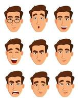 Face expressions of a man. Different male emotions set vector