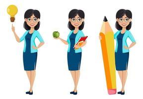 Back to school. Teacher woman cartoon character vector