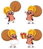 Onam celebration. King Mahabali vector