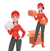 Courier woman, set of two poses vector