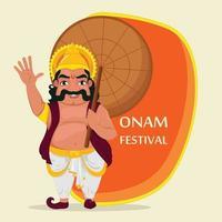 King Mahabali. Happy Onam festival in Kerala. vector