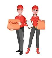 Courier man and woman. Delivery service concept. vector