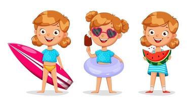 Cute girl cartoon character, set of three poses vector