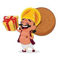 celebración onam. rey mahabali vector