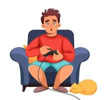 Stay at home concept. Man playing video games vector