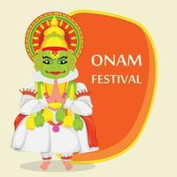 bailarina de Kathakali. feliz festival onam vector
