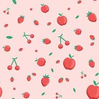 Seamless pattern, various realistic ripe fruits - Vector