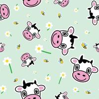 Seamless pattern, cows, bees and chamomile - Vector