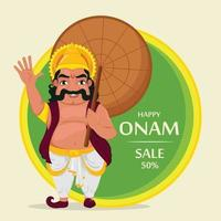 rey mahabali. feliz festival onam en kerala. vector