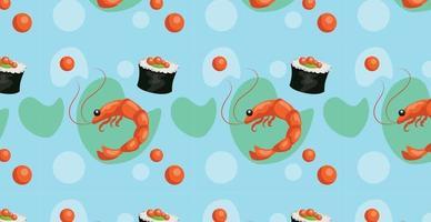 patrón sin costuras, varios mariscos, caviar, camarones, rollos - vector