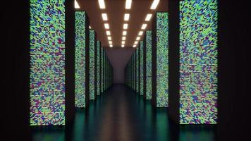 il représentation conceptuelle de la numérisation du flux d'informations se déplaçant à travers les serveurs rack dans le centre de données. video