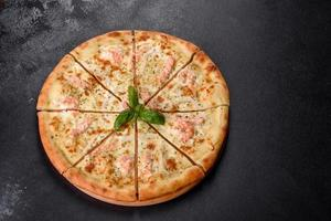 Delicious fresh seafood oven pizza photo