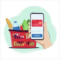Buying products, online shopping vector