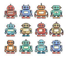 Robots, cute vintage illustrations vector