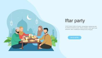 Islamic family Iftar eating After Fasting. vector