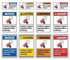 Warning Sign Lockout ,Tagout Required Before Entering vector