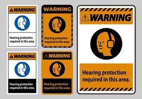 Warning PPE Sign Hearing Protection Required In This Area with Symbol vector