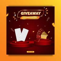 Giveaway anniversary contest invitation social media banner template vector