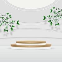 Abstract textured product podium backdrop with leaves on gray wall vector