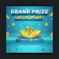 Grand prize anniversary blue and gold, social media banner template vector