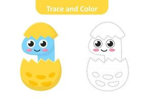 Trace and color for kids, baby dinosaur vector